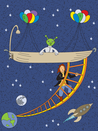 Escape from earth with a help from alien in bathtub vector illustration for kids.