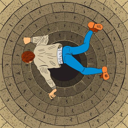 fearful: Top view free fall man to endless hole vector illustration. Illustration
