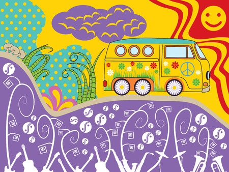 Psychedelic journey of a hippie van. Ideal fro music festival backgrounds.