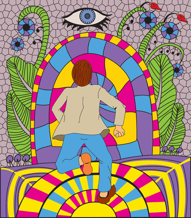 Psychedelic vector illustration of a man running to the tunnel Ilustração