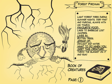 Funny monster illustration as part of the Book of creatures. It light forest fires during the summer season.
