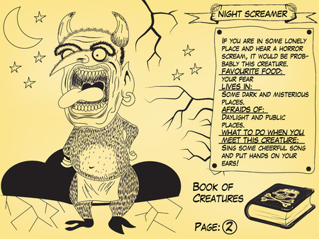 Funny monster illustration as part of the Book of creatures. Night Screamer.