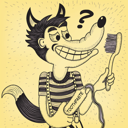 Wolf with toothpaste and toothbrush, trying to figure out how to use them. Vector illustration in old comics style.