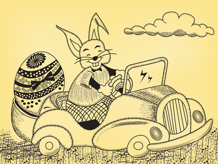 Easter bunny is driving his decorated egg on a car - symbolize that happy holiday season is coming