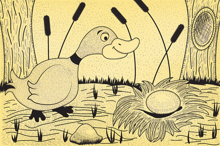 Happy mother duck is looking at egg in nest. Ilustração
