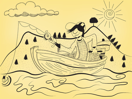 Cartoon illustration of a fisherman on his fishing boat on a sunny day.