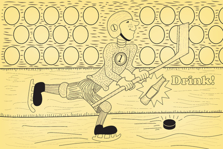 Cartoon illustration of a hockey on ice sport, young sportsman with his hockey stick.