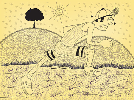 Cartoon Illustration of a young sport man running in nature.