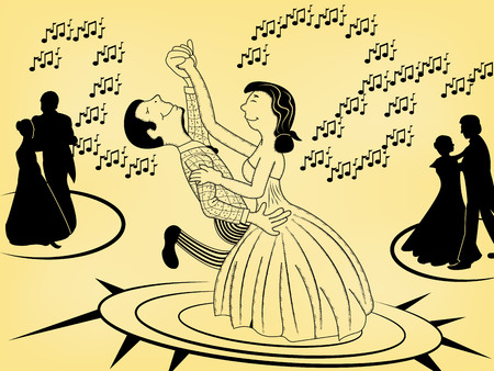 Cartoon illustration of a dancing young couple enjoy on date.