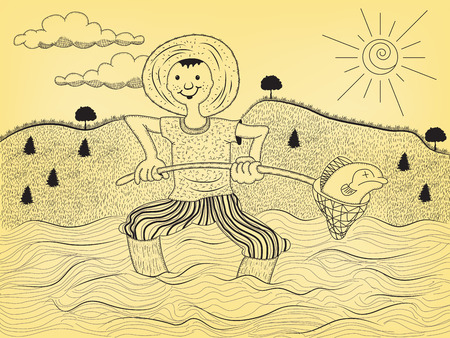 Cartoon illustration of a young fisherman on the water with his small nest, show what his catch.