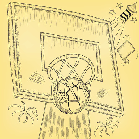 Vector illustration of a basketball hoop hit
