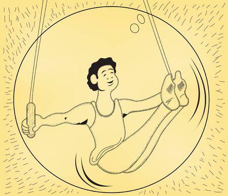 sports winner: till rings gymnastic by an athlete cartoon man, vector illustration. Sport serial. Illustration