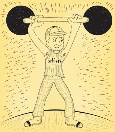 weightlifting by an athlete cartoon funny man, vector illustration. Sport serial.