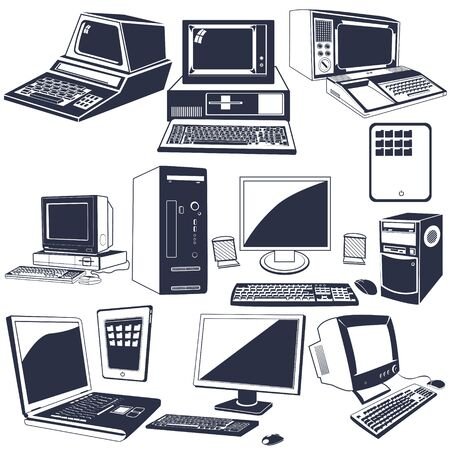 Vector illustration of different computer black icons