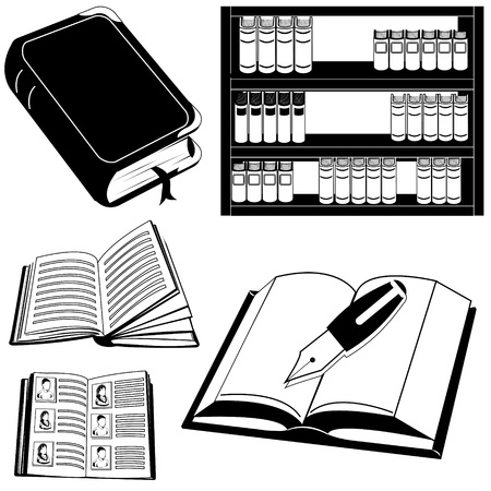 Black book icons in book shelf and pen