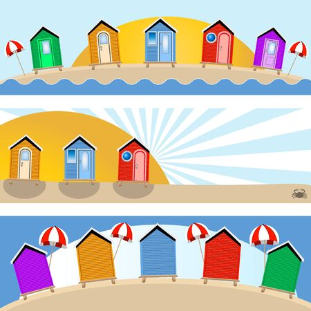 beach hut banners Vector illustration.