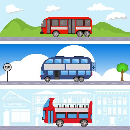 bus transport banners Vector illustration.