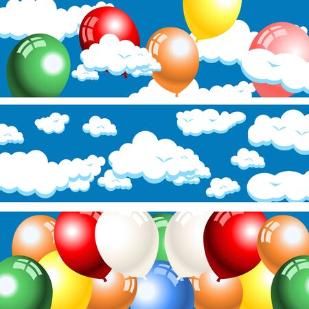 Clouds and balloons banners Vector illustration.