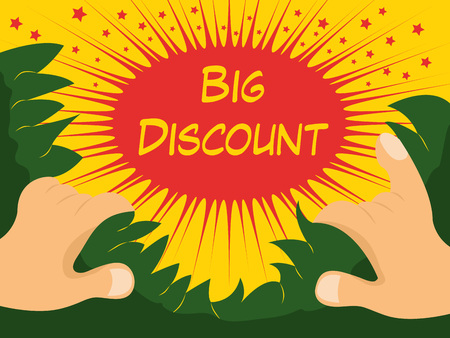 Big Discount banner with hands, leaves on yellow background. Vector illustration.