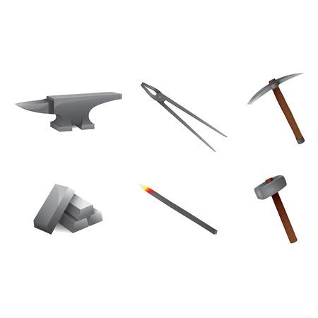 tongs: Iconos herreria pinzas martillo yunque piqueta met�lica Vectores