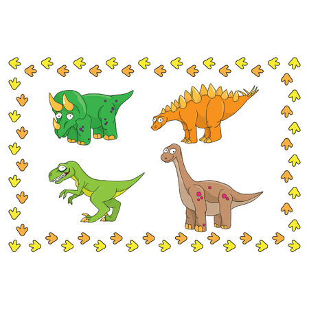 Young dinosaurs on a white background with traces
