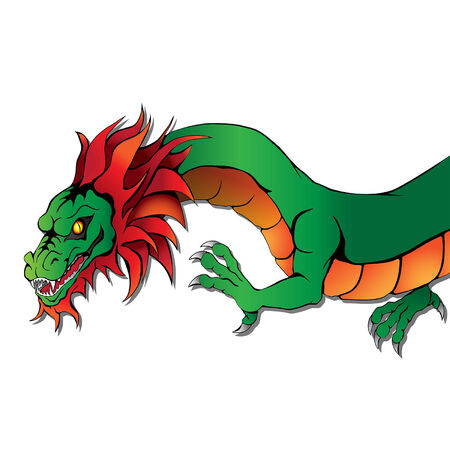 Vector Chinese dragon on white background