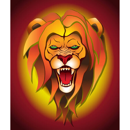 growling: Angry lion on a colored background