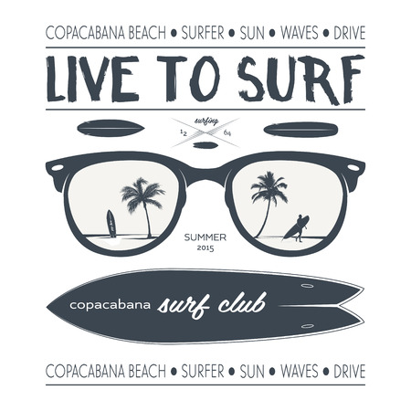 Vector surfing labels and design elements. Illustration