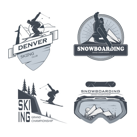 resorts: Vector snowboarding,skiing labels. Illustration