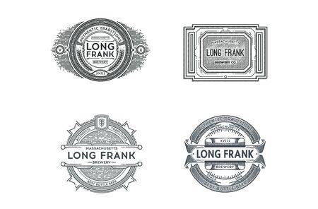 retro badge: Set of Retro Vintage Beer Badges, Labels on Dark Background.