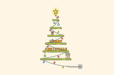 christmas tree illustration: Christmas tree with gifts. Vector line illustration.