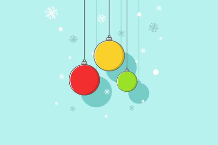 Retro decorative Christmas balls, vector line illustration. Vectores