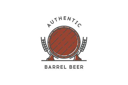 artisanal: Line beer logo. Authentic barrel beer. Stock vector.
