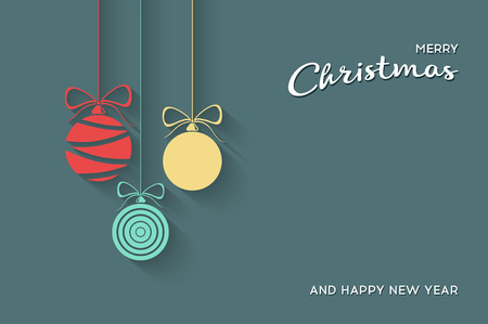 christmas greeting: Vector Flat Christmas Balls. Stock vector illustration. Illustration