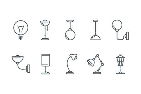 lamp outline: Outline Lamp Icon Set. Line art. Stock vector.