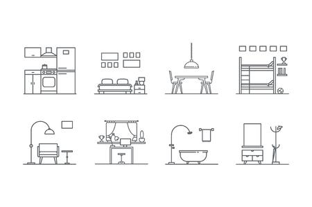 interior design: Set of line  interior design icons. Stock vector.