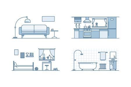 interior design: Home interior design. Line illustration. Stock vector. Stock Photo