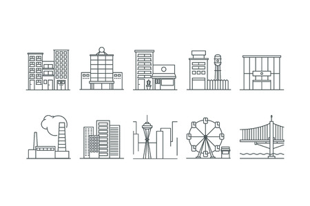 stock vector: Building icons set. Line art. Stock vector.