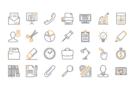 Line icons of office. Line art. Stock vector. Vectores