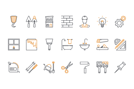 Line icons set- construction, home repair tools. Stock vector. Vectores