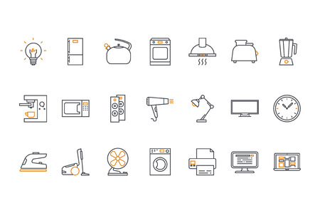double oven: Line icons set. Household appliances. Stock vector.