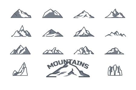 Conjunto de iconos de la montaña. Arte lineal. Stock Vector. Ilustración de vector