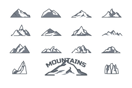 mountain icons set. Line art. Stock vector.
