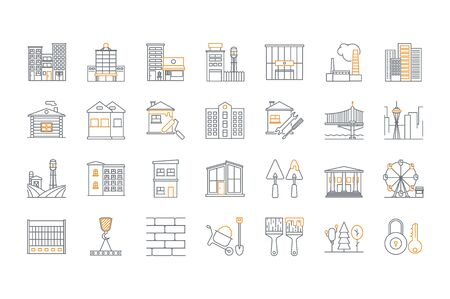 homes for sale: Set of line building icons. Stock vector. Illustration