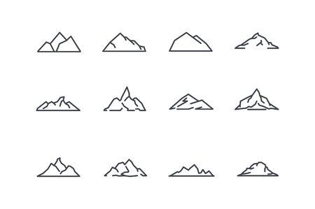 Conjunto de iconos de la montaña. Arte lineal. Stock Vector.