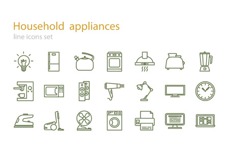double boiler: Line icons set. Household appliances. Stock vector.