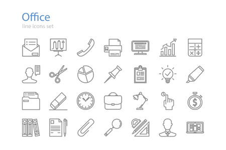 Icons of office. Line art. Stock vector. Vectores