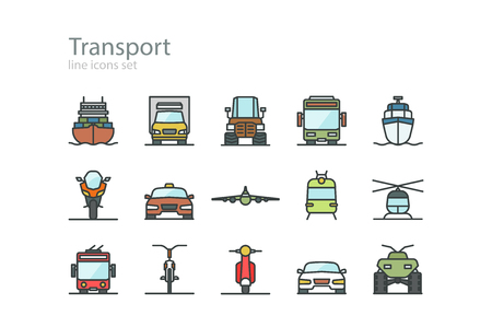 front view: Transport. Line icons set. Color. Stock vector.