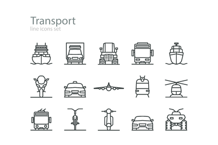 Transport. Line icons set. Colourless. Stock vector. Vectores