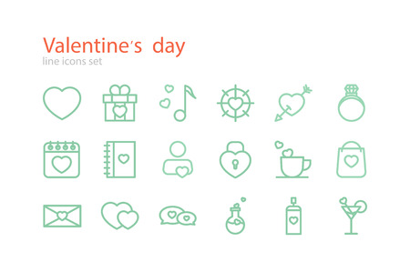 hot lips: Valentines Day. Line icons set. Stock vector.